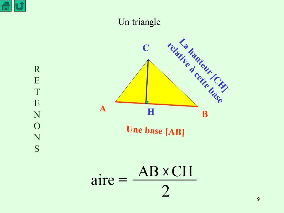 La hauteur [CH] relative à cette base
